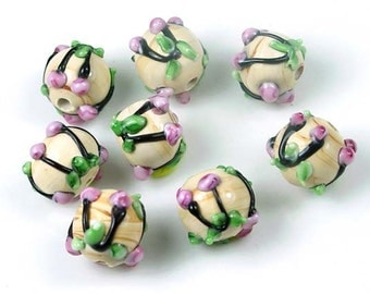 Lampwork Glass Woodland Blossom Round Beads 12mm (L846)