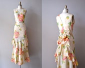 1930s dress / floral 30s dress / bustle / Nymphaea dress