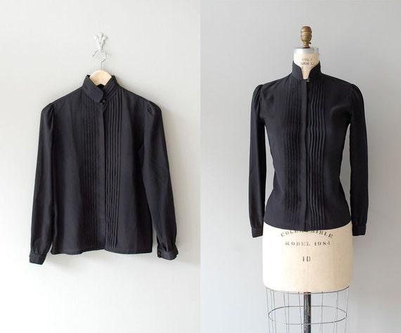 80s black blouse / pintucked black blouse / high collar
