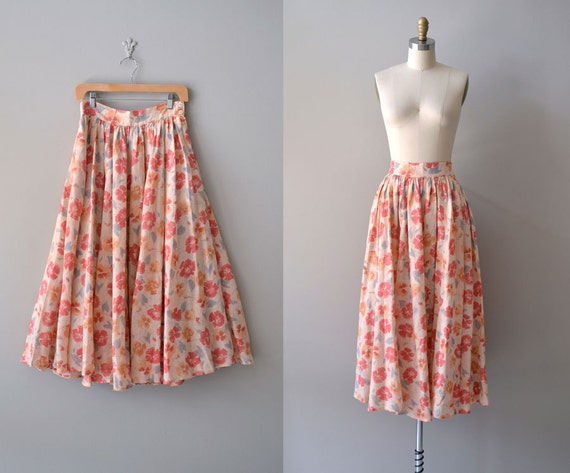 vintage floral skirt / midi skirt / Painted Poppies
