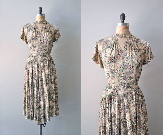 1940s dress / rayon 40s dress / Artemisia dress