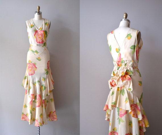 1930s dress / floral 30s dress / bustle / Nymphaea dress