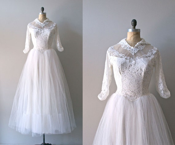 50s lace wedding dress / 1950s wedding dress / Dolce Cuore dress