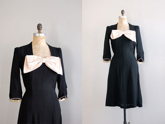 1940s dress / vintage 40s dress / She's My Satin Doll dress