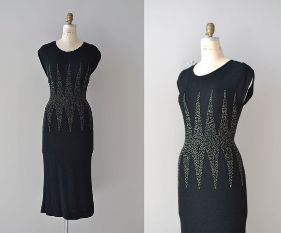 1950s dress / 50s knit dress / Riddle of the Cosmos
