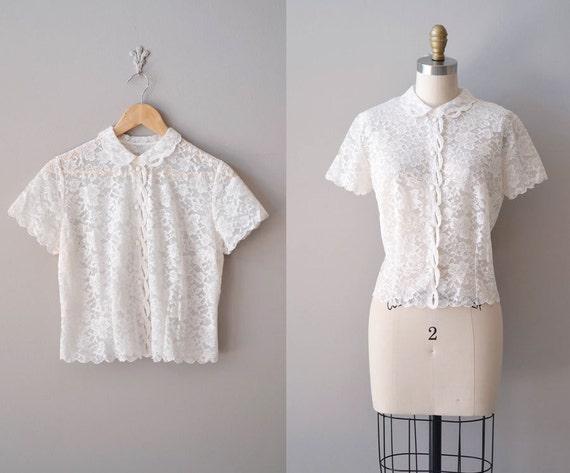 1950s  blouse / white lace blouse / peter pan collar blouse