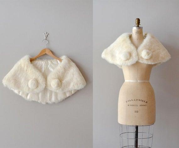 1950s rabbit fur stole / 50s white rabbit wrap