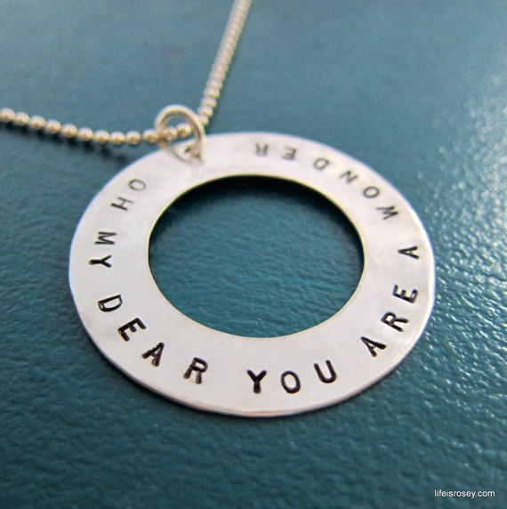 Hand Stamped Eternity Circle Necklace or Keyring - Personalized - Solid Sterling Silver - 1 1/4 inches - Sterling Washer