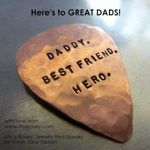Hand Stamped Personalized COPPER GUITAR PICK Plectrum - Gifts for Men - Groom Gift - Fathers Day - Gift for Musicians