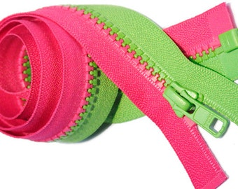 sale 30 inch Vislon Zipper Multi Color Jacket (Special Decorating Zipper) YKK 5 Molded Plastic - Separating - Hot Pink and Spring Green