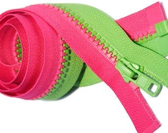 YKK Multi Color Separating Vislon Zipper Multi Color JacketYKK 5 Molded Plastic~Any Length U want  Separating - Hot Pink & Spring Green
