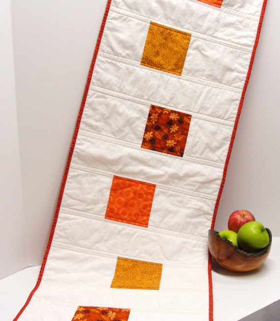 """Autumn table runner- quilted, large- with orange, rust, mustard on creamy white """"Gratitude"""""""