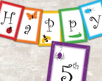 """PRINT & SHIP Rainbow of Bugs Birthday Party Pennant Banner (""""Happy 1st Birthday"""") >> personalized and shipped to you <<"""