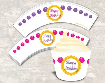 PRINT & SHIP Princess Birthday Party Cupcake Wraps (set of 12) >> personalized and shipped to you | Paper and Cake