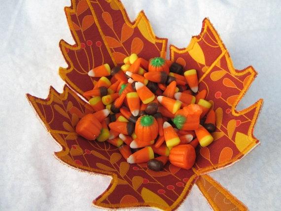 Fabric Bowl Orange Autumn Leaf