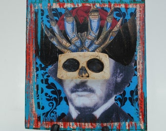 mixed media art painting assemblage collage art masked Edgar Allan Poe