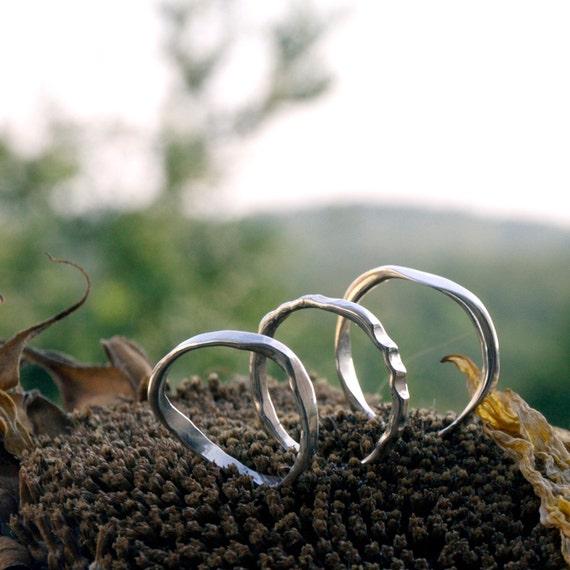 Three rings Sterling silver stacking ring set  hammered silver organic ring Handmade France Etsy menno Modern organic design