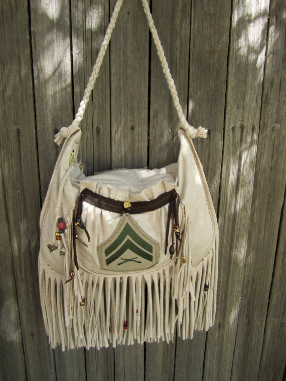 Reserved for whatsoldisnew,Oatmeal and Brown Military Fringed Shoulder Bag