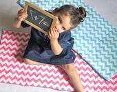 Preschool Nap Mat - Pink Chevron with Organic Denim School Nap Pad  - Eco Friendly Modern Kids Bedding