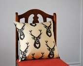 Antlers PILLOW Cover - Eco Friendly Throw Pillow Sham - Woodland Accent Cushion in Black Cream Deer - Rustic Western Home Decor