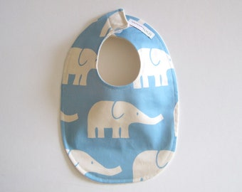 Organic BABY BIB -  Minimalist Blue and White Elephants - Baby Boys Food and Teething Bib