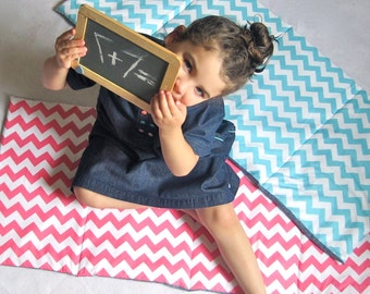Preschool Nap Mat - Pink Chevron with Organic Denim School Nap Pad  - Eco Friendly Modern Kids Bedding