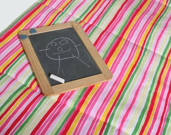 Toddler NAPMAT with Organic Cotton- Non-Toxic, Eco Friendly Preschool Nap Pad - Pink Rainbow Stripes - Last One