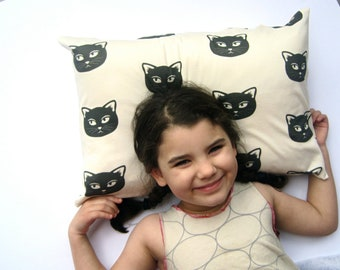 Black Cat Organic Pillow Sham Cover - Toddler Pillow Cushion - Baby Nursery Decor in Mischevious Kitty Cats (Exclusive to SewnNatural)