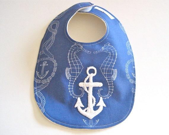 Baby Bib ORGANIC - Nautical Navy Blue and White Seahorses with Vintage Sea Anchor / Unisex Eco Friendly Baby Boys Bib (Last One)