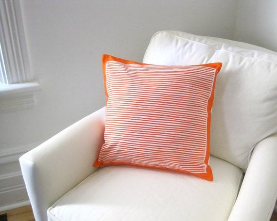 Marimekko PILLOW COVER Sham - Tangerine Orange Striped Cushion Cover - Modern Geometric Scandinavian Home Decor (only 1 - ready to ship)