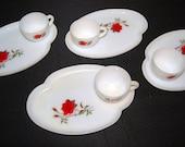 Vintage Dishes Red Rose on Milk Glass Serving Set