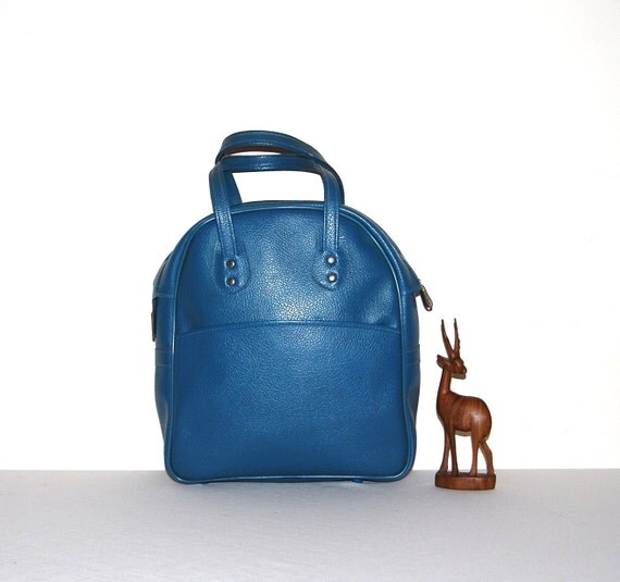 Vintage Tote  Mod Blue 70s