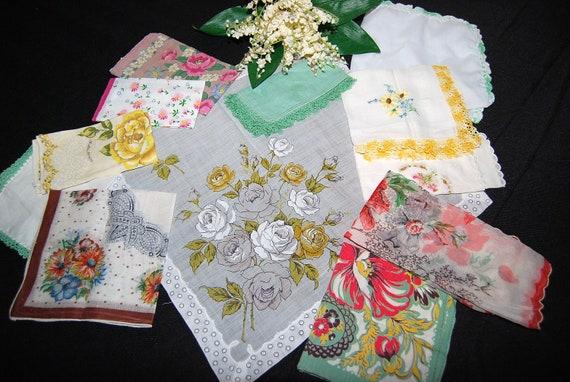 Vintage Hankies Mint Bouquet
