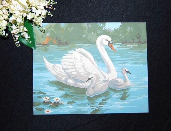 Vintage Paint by Number Swan
