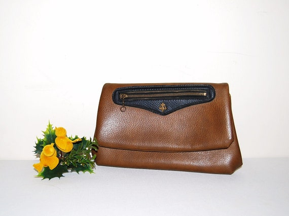 Vintage Clutch Fleur De Lis Brown