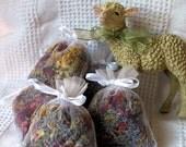 Herbal Sachet a blend of fresh dried herbs, lavender, rose and calendula in white organza bag sample size