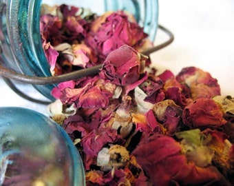 Organic Red Rose Buds and Petals dried herb 1 ounce free shipping when ordered with another item