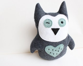 Olivia the Owl Doll- softie, stuffed animal, plush, bird - blue, gray