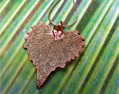 Real Leaf Jewelry, Rose Gold Patina Cottonwood Necklace, Original process - WoodSmith