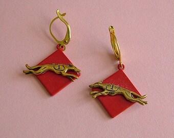 Running Greyhound Whippet Red Earrings