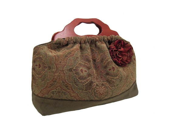 Top Seller The Knitting Bag Green Chenille with Matching Flower One of a Kind