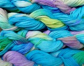 Pure wool yarn worsted weight, hand dyed turquoise, violet and lime