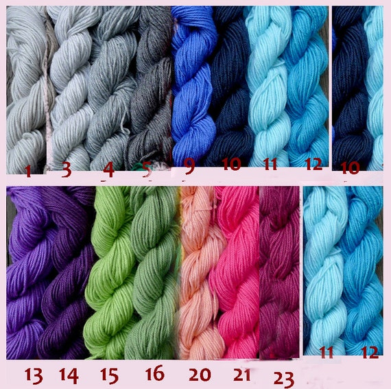 1500 yards worsted weight yarn, hand dyed mixed colors, 15 skeins
