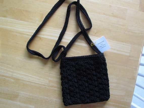 Crochet Bag Strap : SALE - Crochet Black Purse with Shoulder Strap - Nylon Crochet Purse ...
