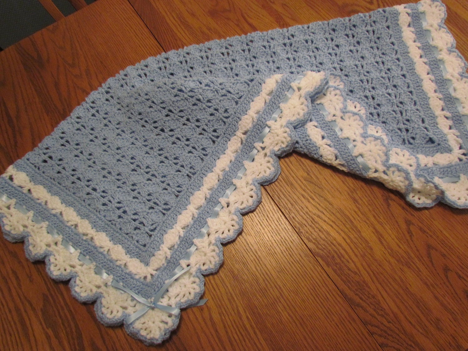 Crochet Baby Blanket Heirloom Lace Afghan Blue And White With