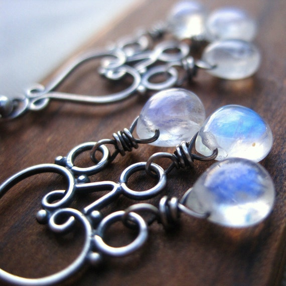 Cyber Monday Etsy Jewelry Moonstone Chandelier Earrings Gemstone Sterling Silver Chandelier Lunar Black Friday