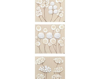 Neutral Wall Art White Flower Painting Triptych on Canvas - Textured Original Art - Medium 32x10 - MADE TO ORDER