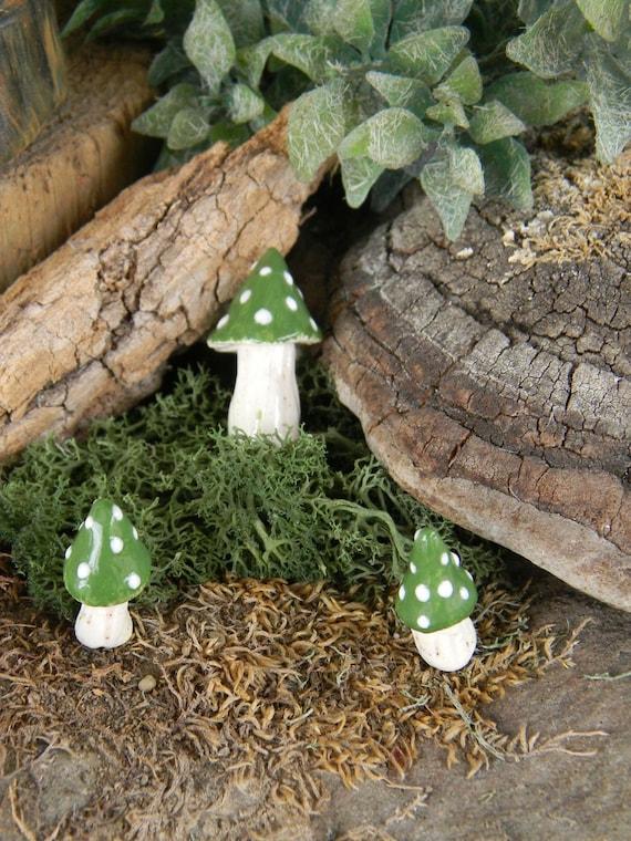 ceramic mushroom miniatures 3  green   Posion.. ..  terrarium or miniature gardens