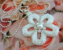 Beadwork Flower Power Peyote Necklace Pendant Beaded Seed Bead (Made to Order)