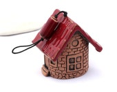 Made to order -- Ceramic Bell - Rustic Strawberry House of tiny fairies by studio Vishnya